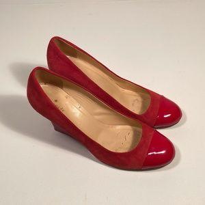 Kate Spade Red Suede Wedge Heels Women 11 B